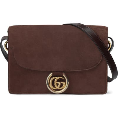 Gucci Small Gg Ring Suede Shoulder Bag - Brown