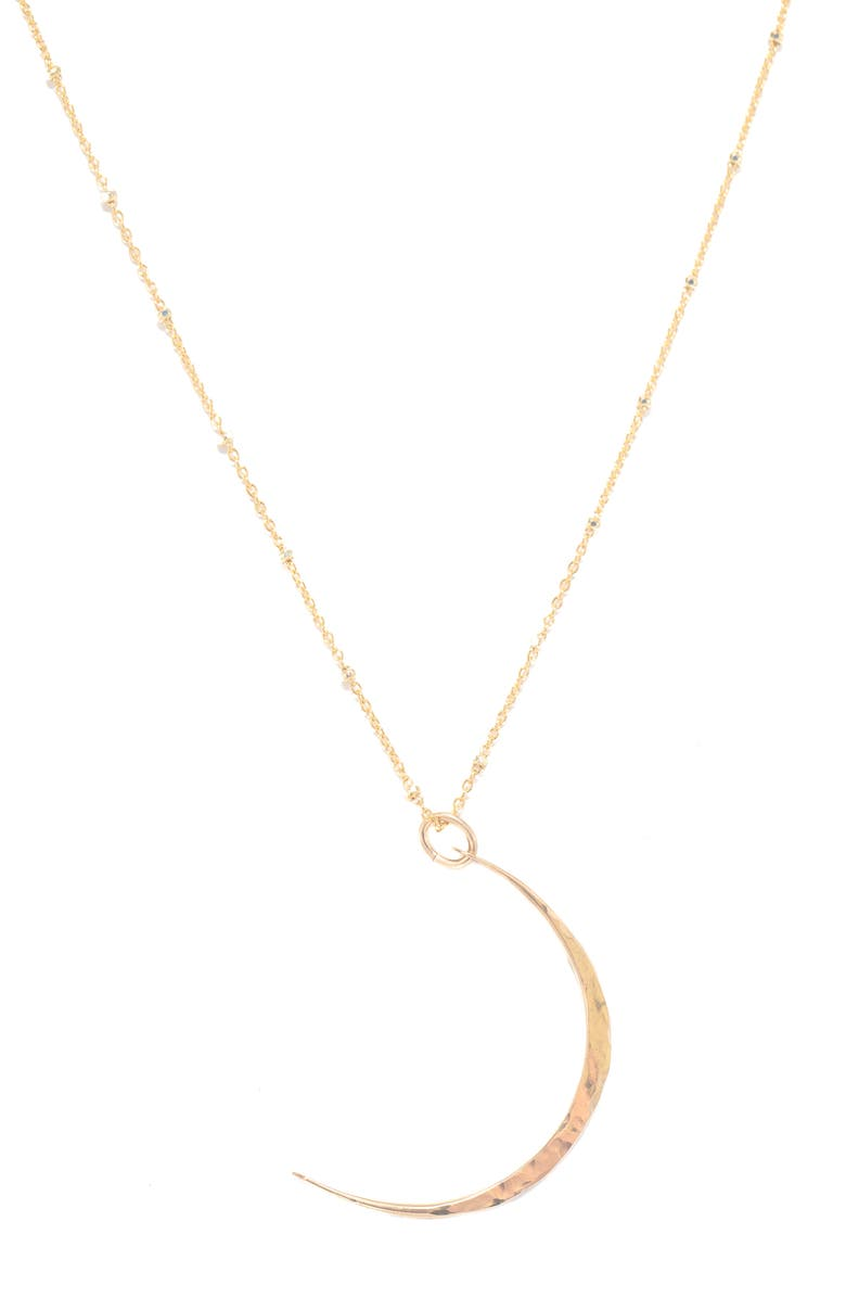 TERESSA LANE JEWELRY Hammered Crescent Pendant Necklace, Main, color, GOLD