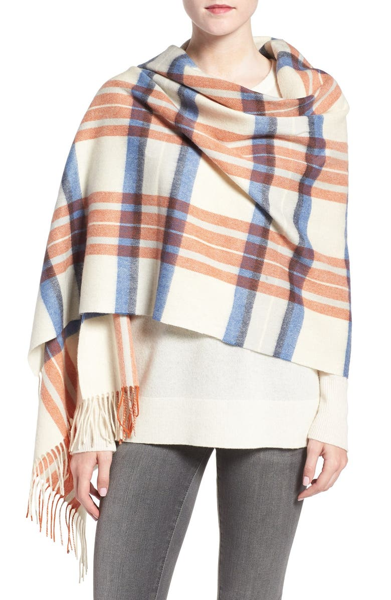 BARBOUR Plaid Lambswool Wrap, Main, color, 270