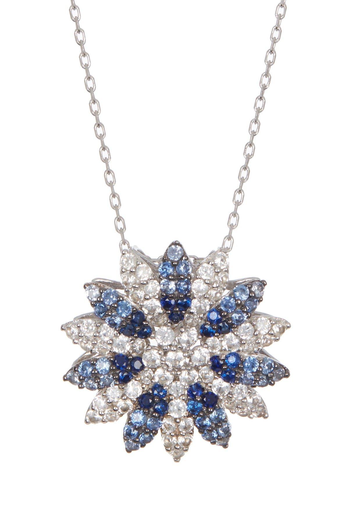 Image of Suzy Levian Sterling Silver Sapphire Burst Pendant Necklace