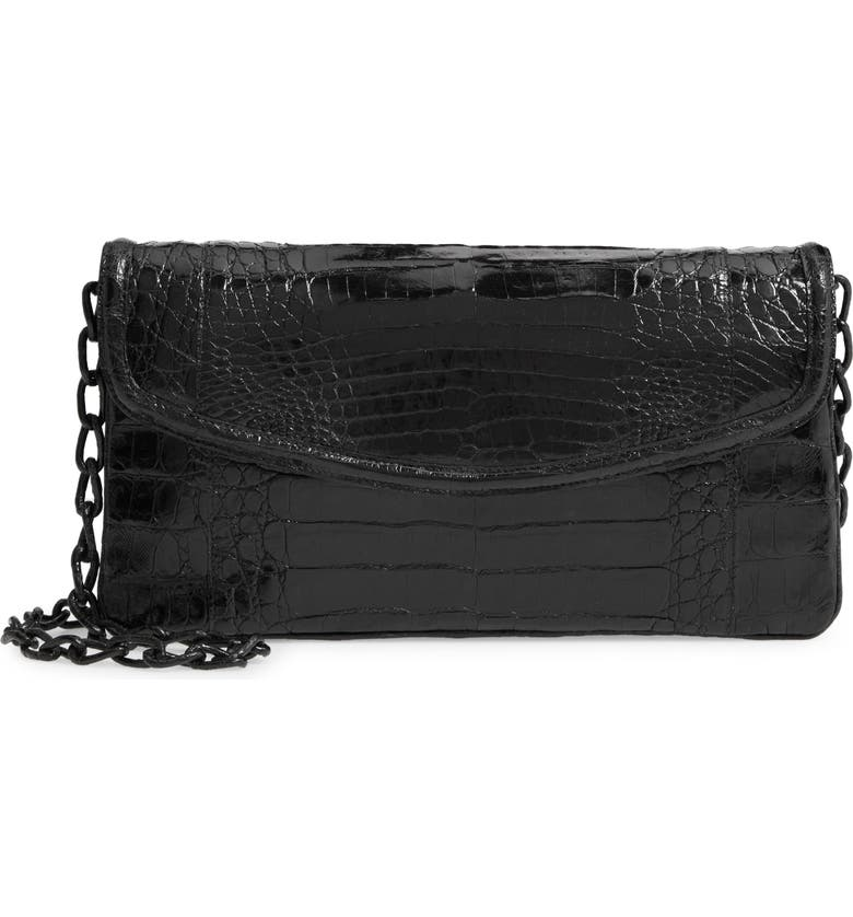 NANCY GONZALEZ Small Genuine Crocodile Flap Clutch, Main, color, 001