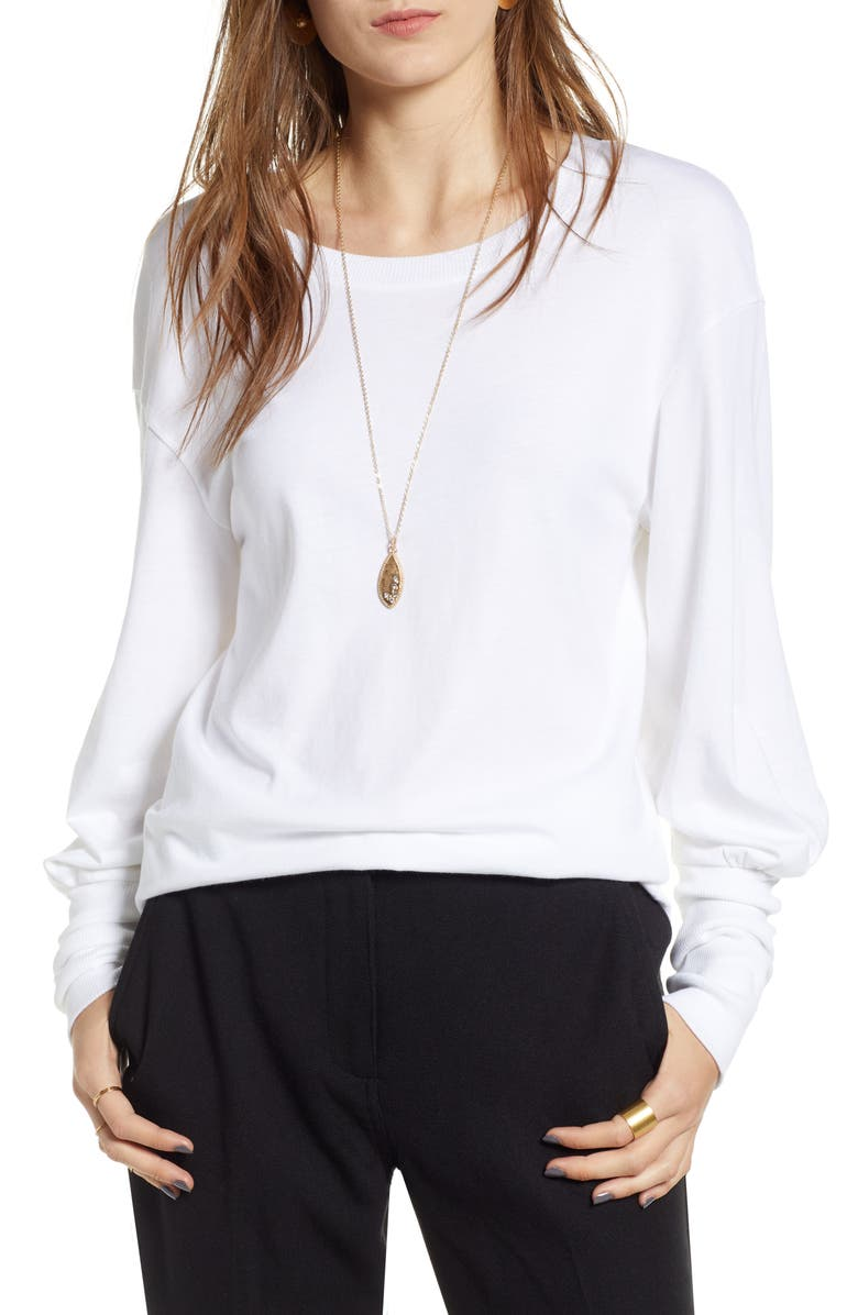 TREASURE & BOND Blouson Sleeve Tee, Main, color, WHITE
