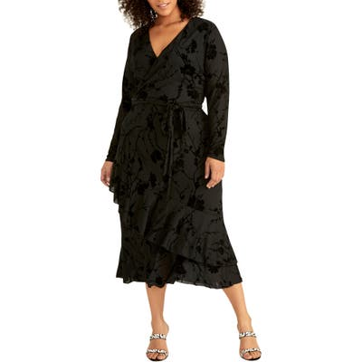 Plus Size Rachel Rachel Roy Ruffle Hem Faux Wrap Midi Dress, Black