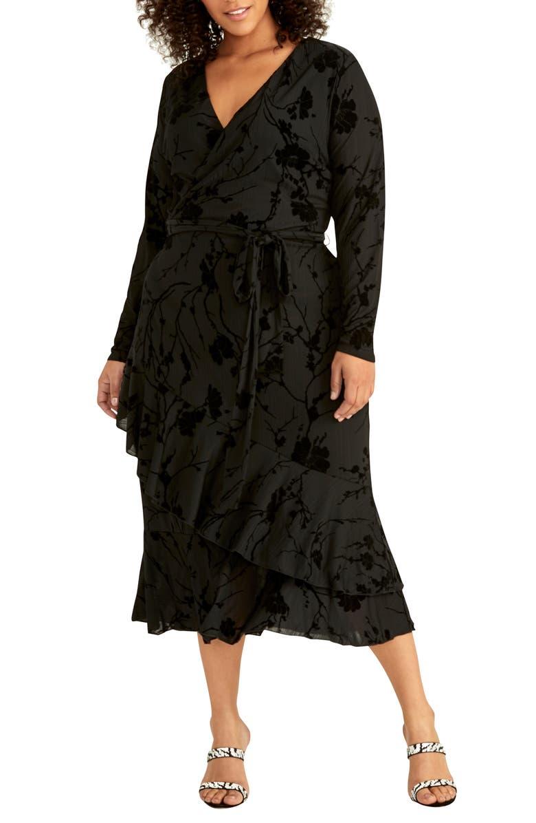 RACHEL RACHEL ROY Ruffle Hem Faux Wrap Midi Dress, Main, color, BLACK/ BLACK