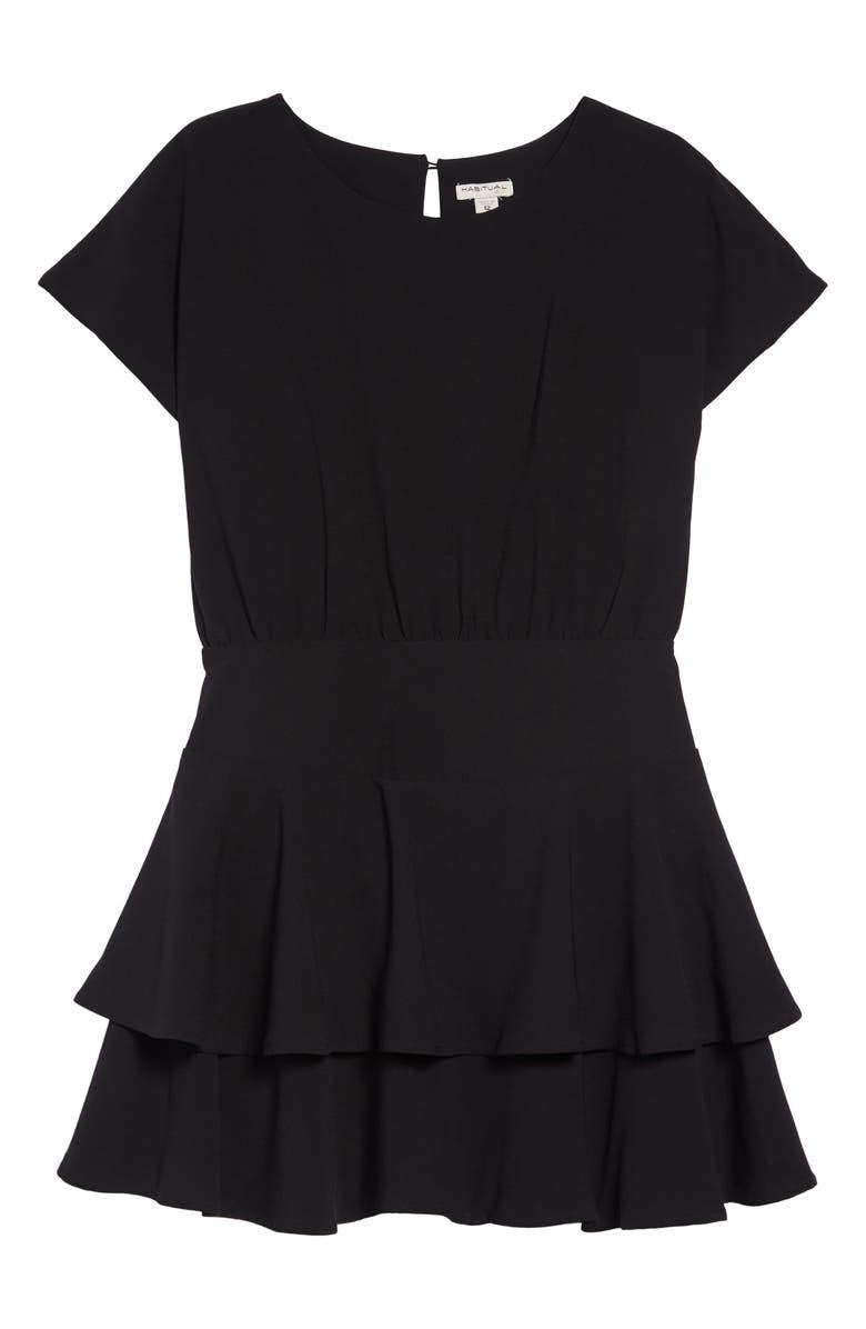 HABITUAL Gracie Crepe Flounce Dress, Main, color, BLACK