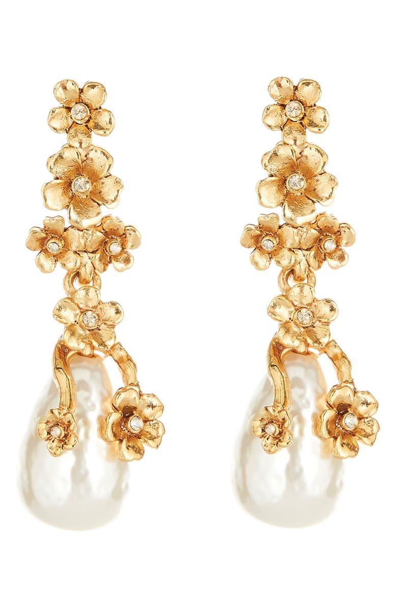 OSCAR DE LA RENTA Imitation Pearl Flower Drop Earrings, Main, color, GOLD
