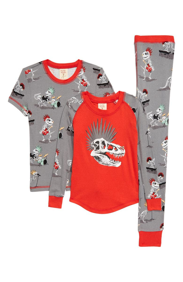 MUNKI MUNKI Dino Bones Fitted Three-Piece Pajamas, Main, color, GREY