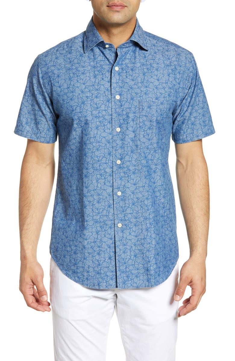 PETER MILLAR Crown Floral Short Sleeve Button-Up Shirt, Main, color, IBERIAN BLUE