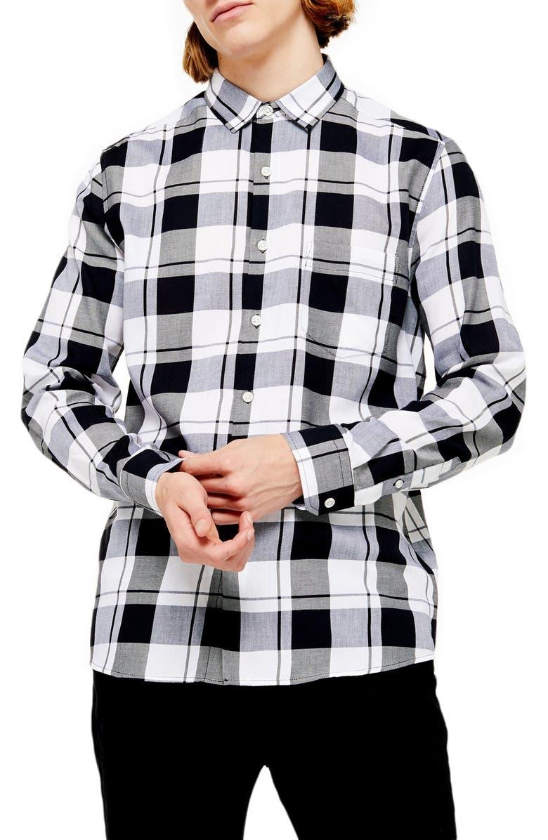 TOPMAN Slim Fit Check Shirt, Main, color, BLACK MULTI
