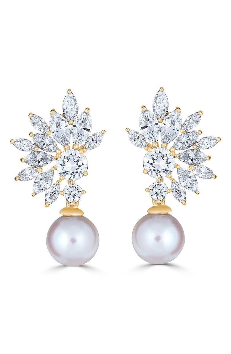 THOMAS LAINE Grace Marquise Burst Pearl Drop Earrings, Main, color, WHITE PEARL/ GOLD