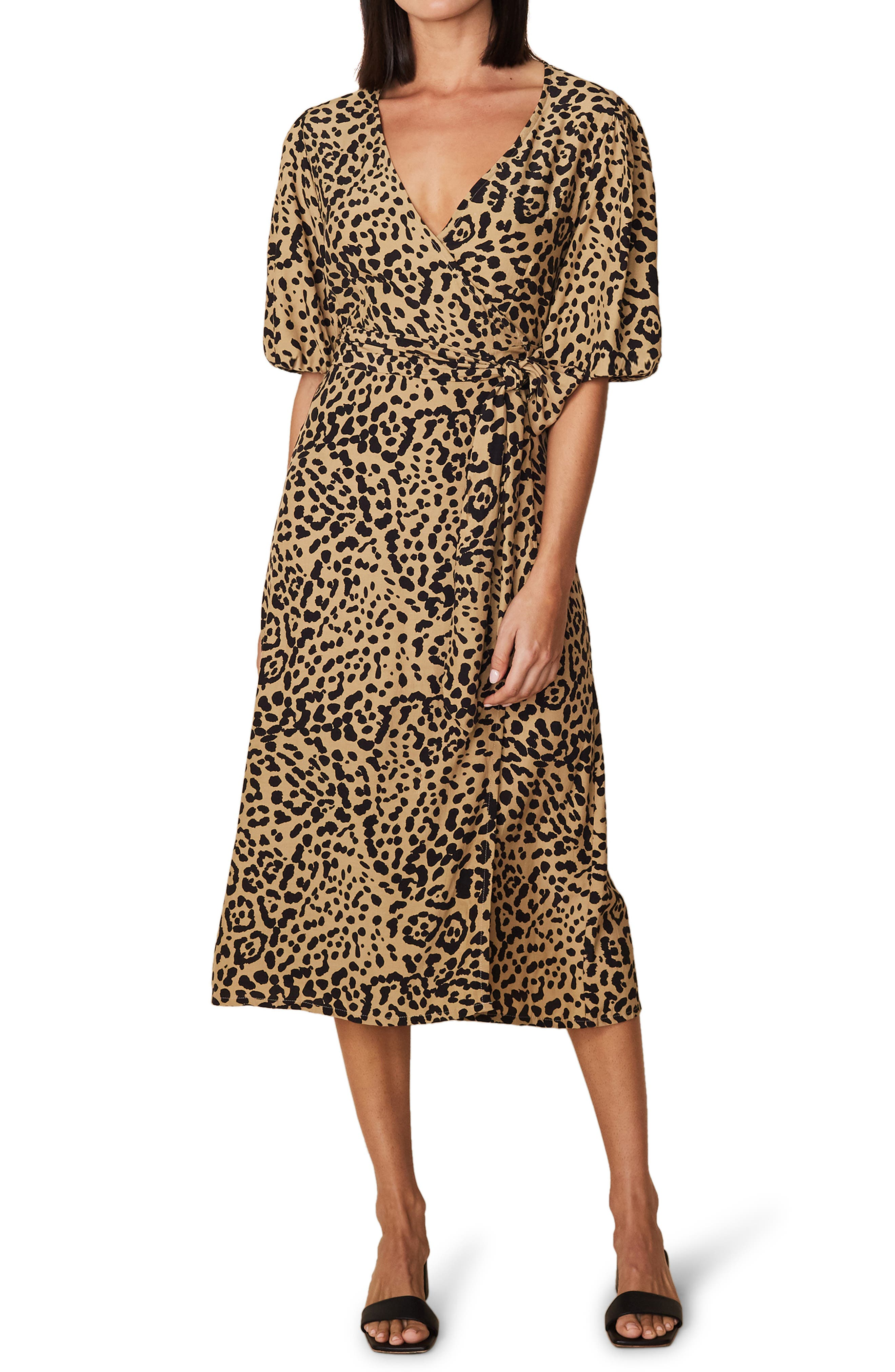 Elfrida Animal Print Midi Wrap Dress
