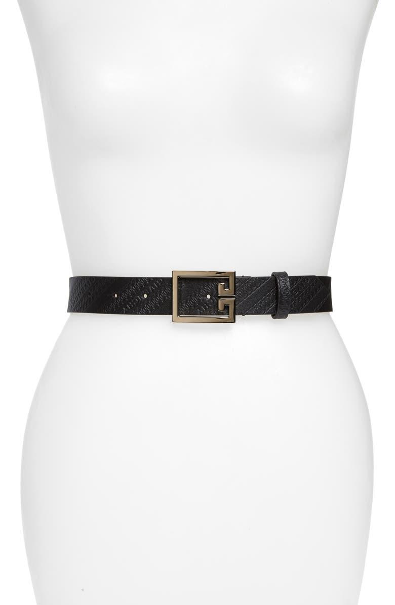 GIVENCHY GV3 Logo Embossed Leather Belt, Main, color, BLACK/ GOLD