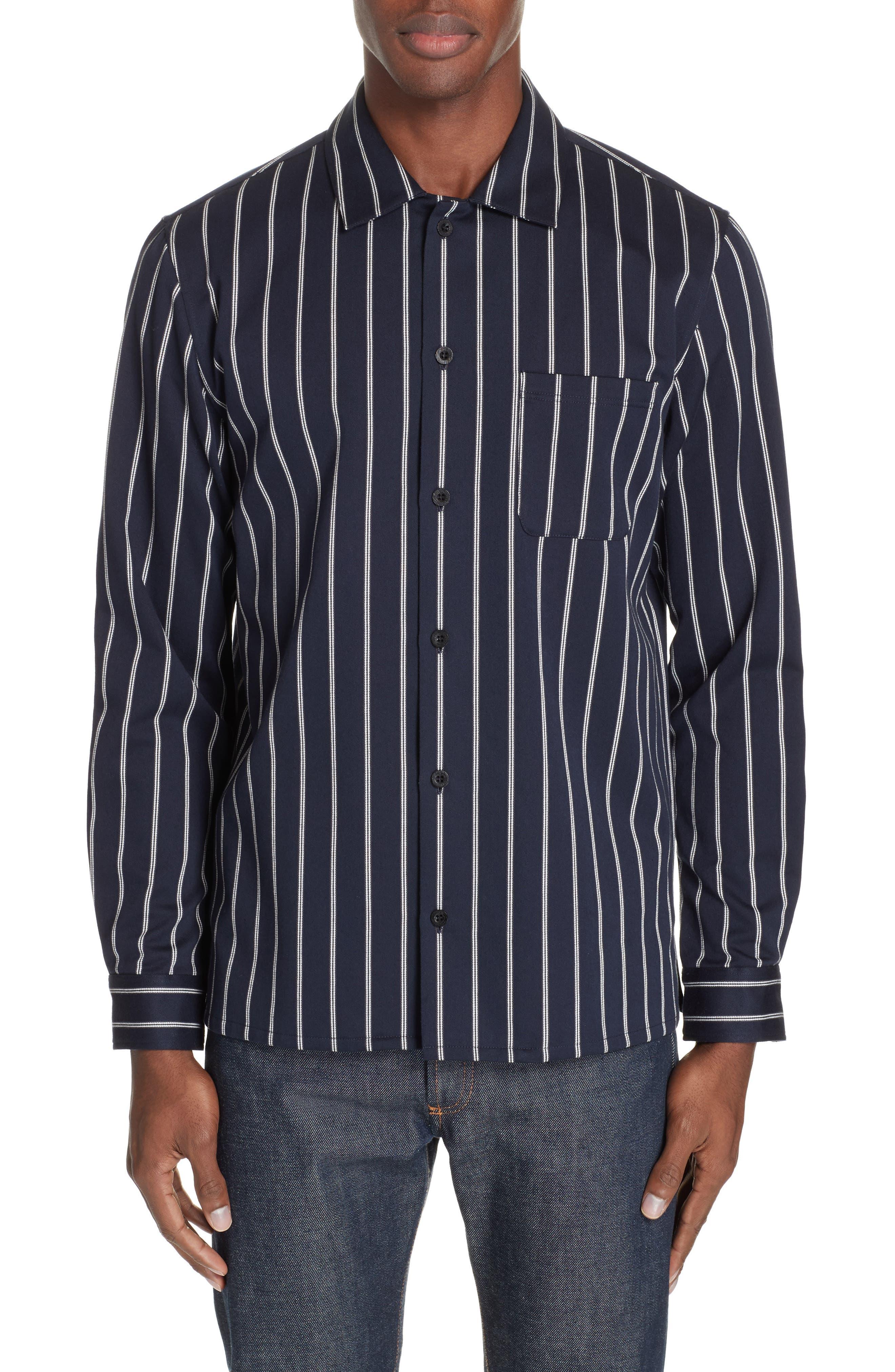 Mint Stripe Extra Slim Fit Sport Shirt, Main, color, DARK NAVY