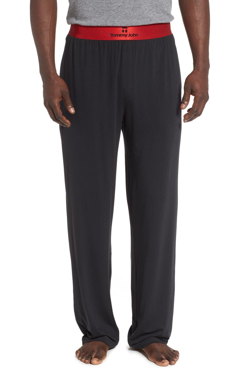 TOMMY JOHN Second Skin Lounge Pants, Main, color, BLACK/ HAUTE RED