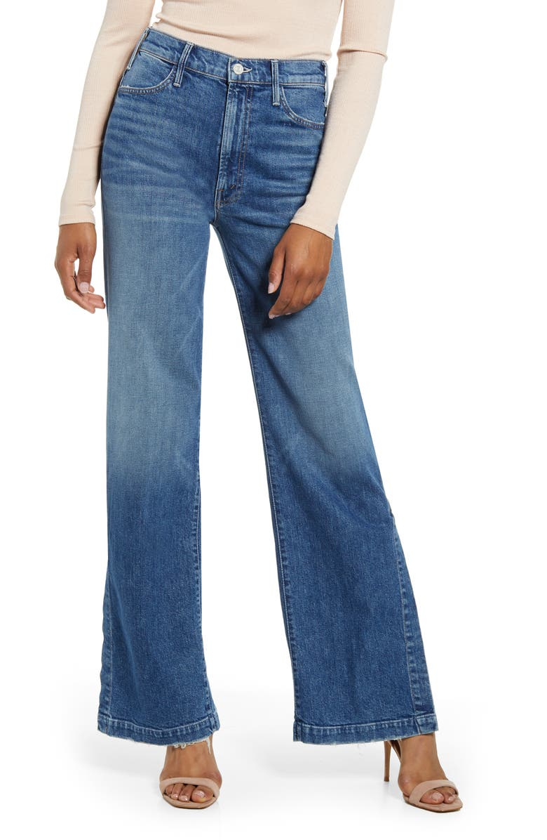 MOTHER The Hustler Sidewinder High Waist Split Wide Leg Jeans, Main, color, COWBOYS DONT CRY