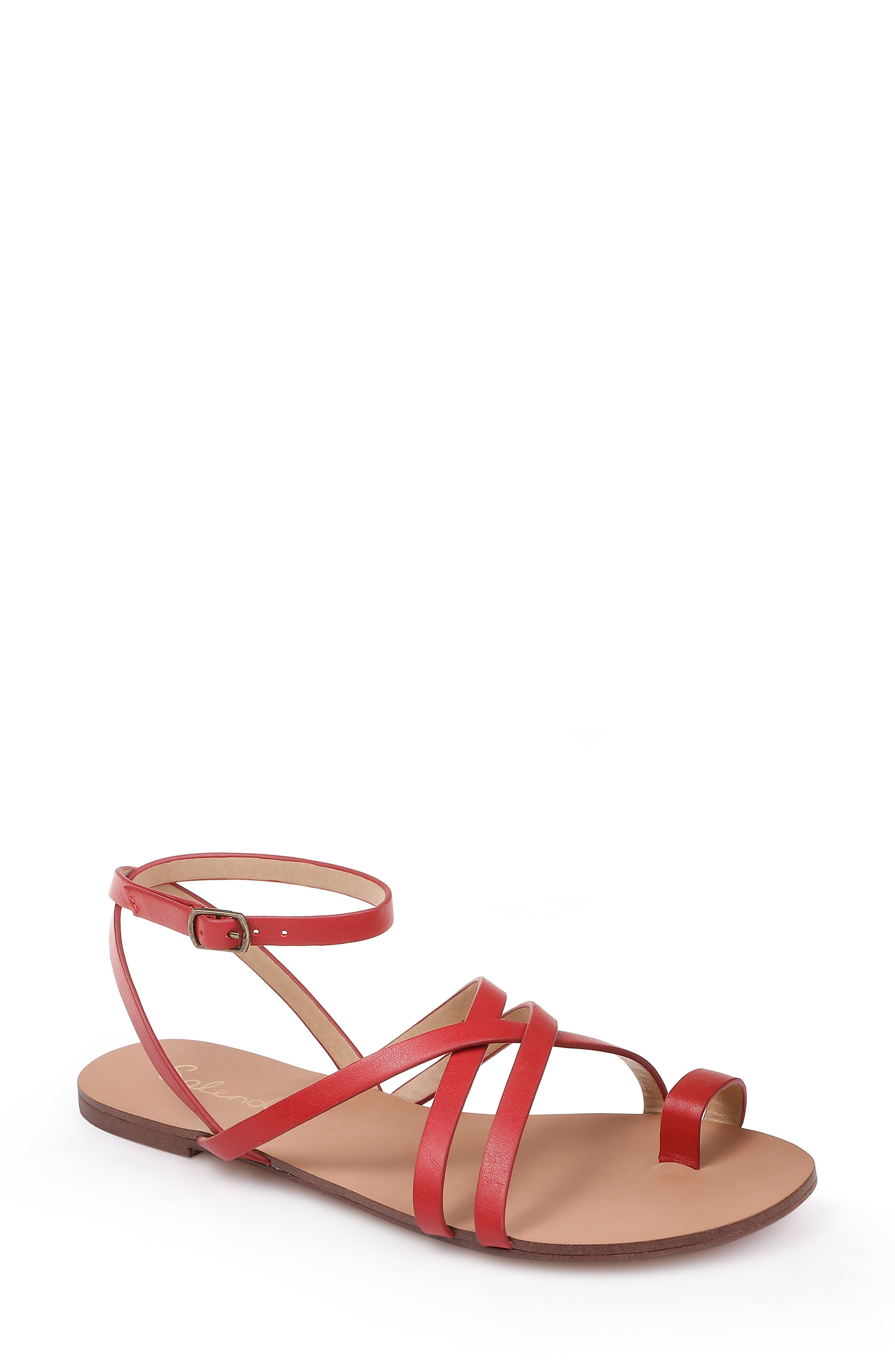Splendid Sully Strappy Toe Loop Sandal, Red