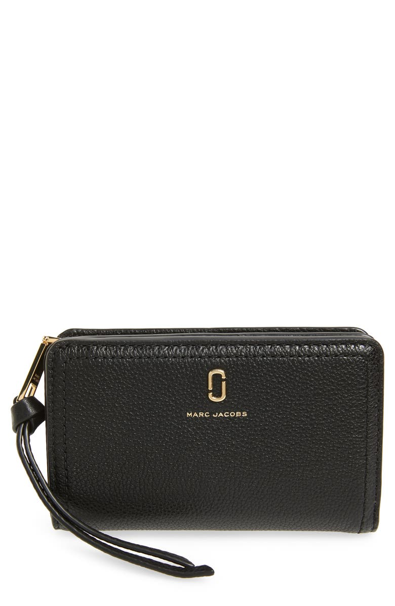 MARC JACOBS Softshot Compact Leather Wallet, Main, color, BLACK