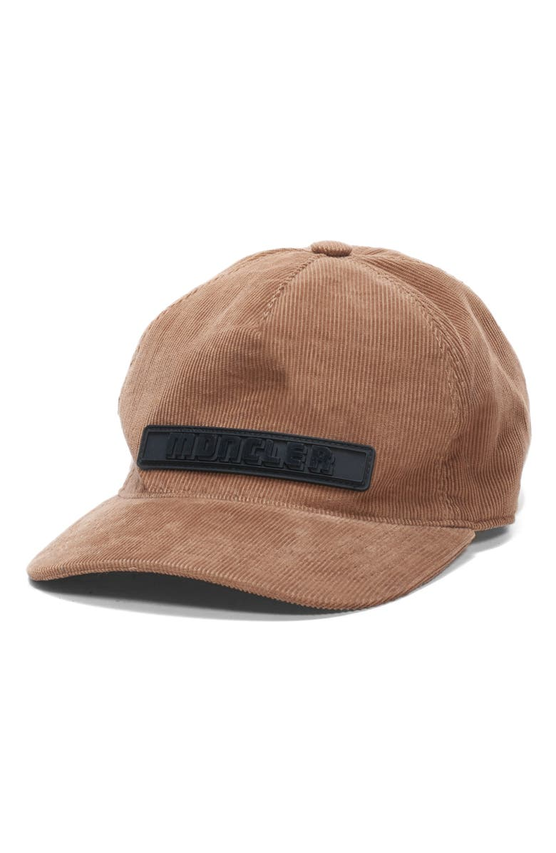 MONCLER Corduroy Baseball Cap, Main, color, CAMEL