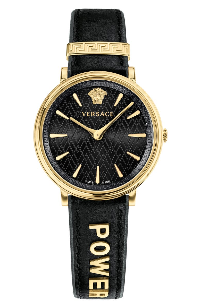 VERSACE Manifesto Leather Strap Watch, 38mm, Main, color, 001