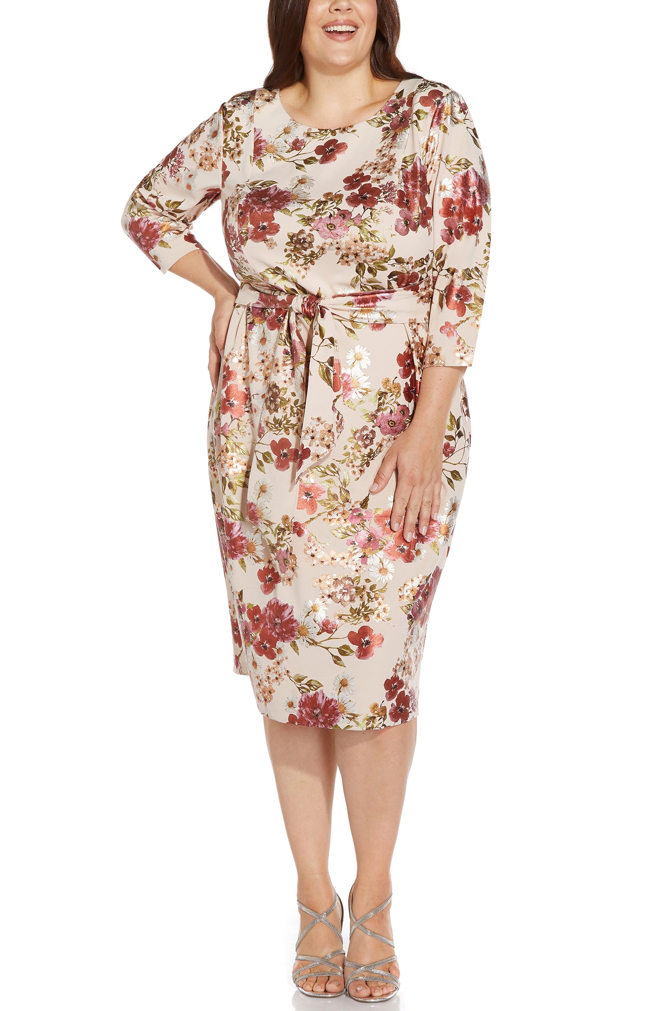 Floral Tie Front Padded Shoulder Sheath Dress