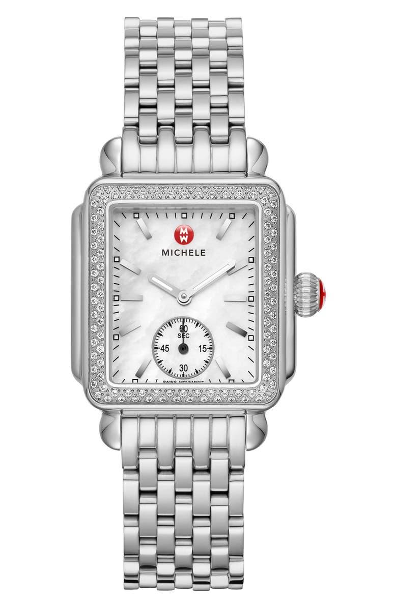MICHELE Deco Mid Diamond Watch Head & Bracelet, 29mm, Main, color, SILVER