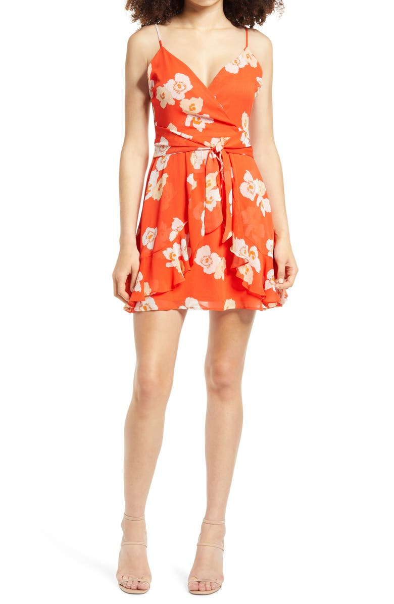 ALL IN FAVOR Print Ruffle Minidress, Main, color, CORAL FLORAL