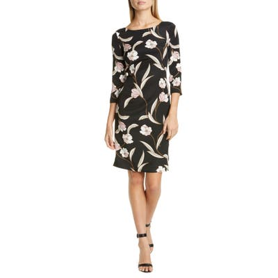 St. John Collection Desert Floral Stretch Silk Dress, Black