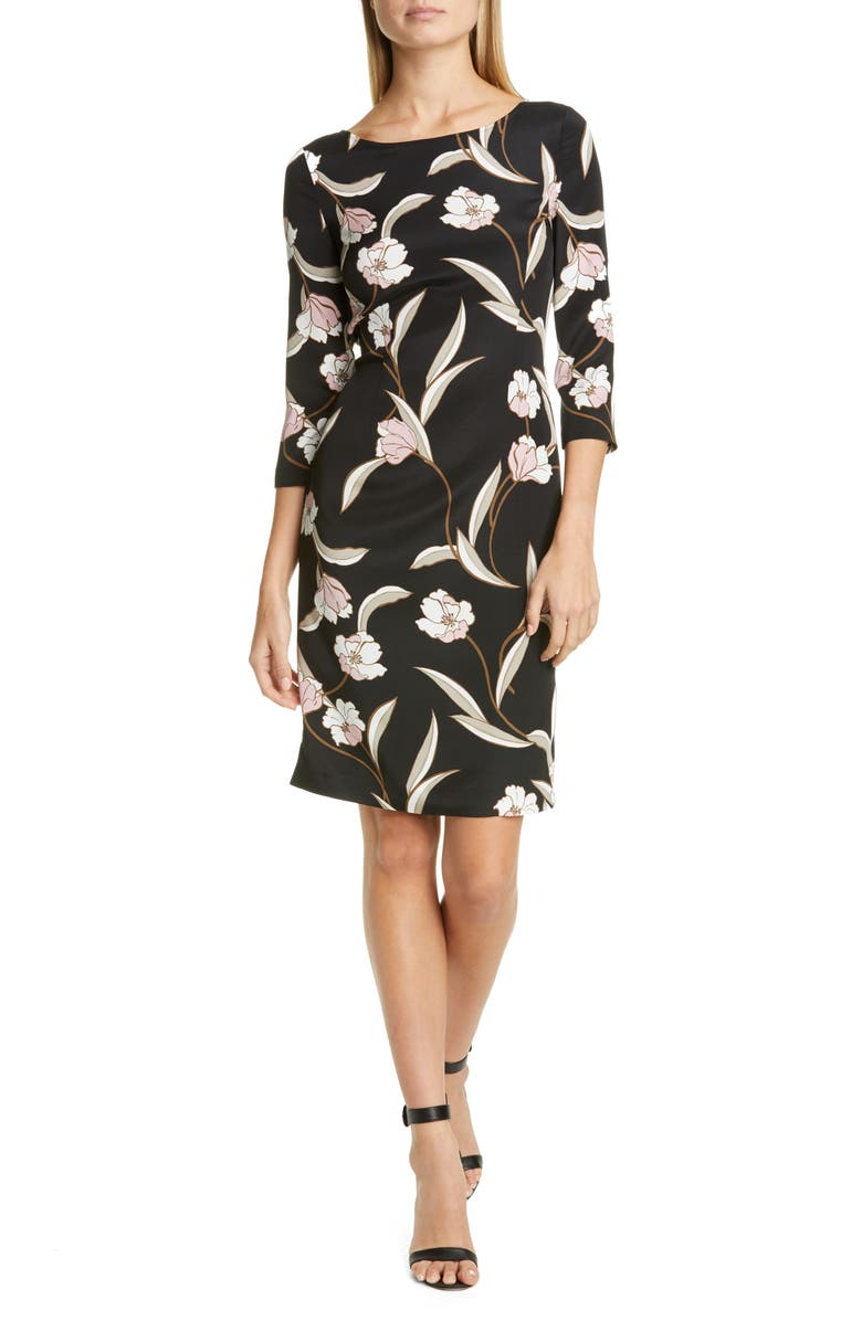 ST. JOHN COLLECTION Desert Floral Stretch Silk Dress, Main, color, CAVIAR/ CANYON ROSE MULTI