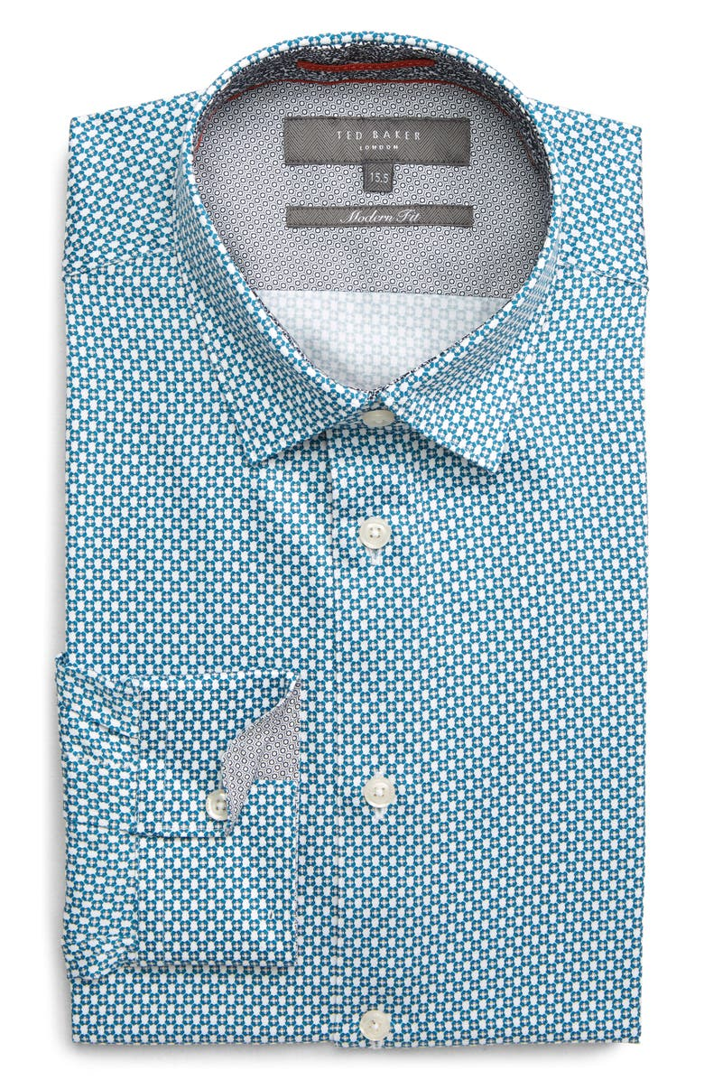 TED BAKER LONDON Edde Slim Fit Print Dress Shirt, Main, color, 421