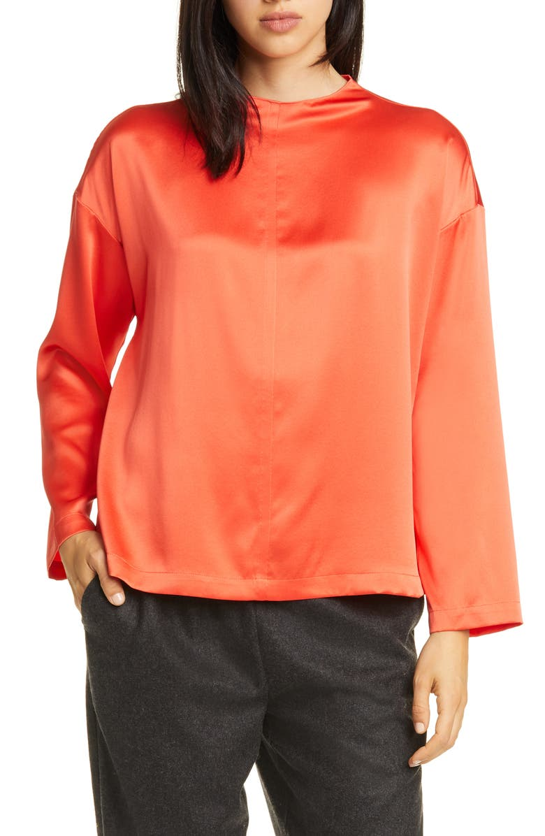 EILEEN FISHER Funnel Neck Silk Top, Main, color, RED LORY