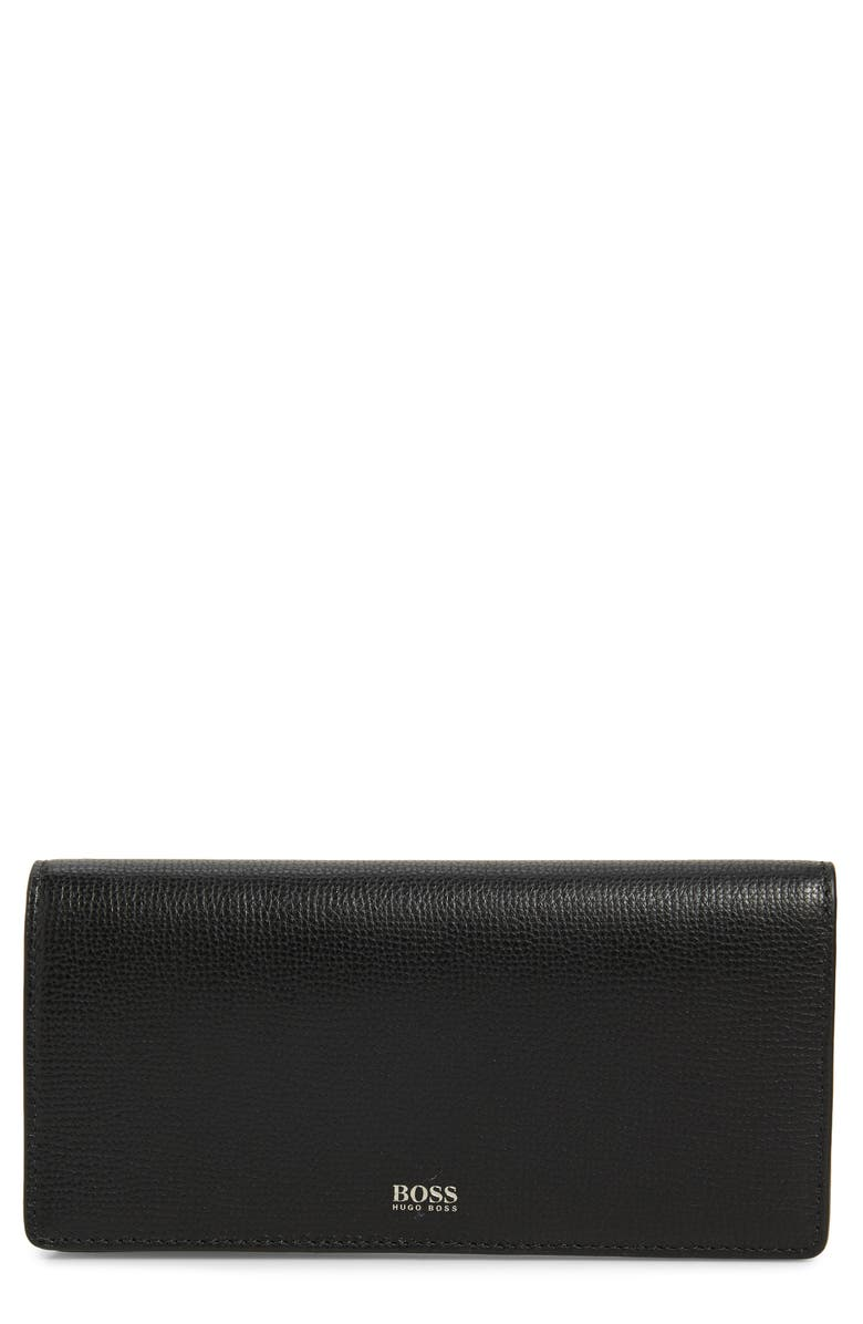 BOSS Taylor Leather Continental Wallet, Main, color, BLACK