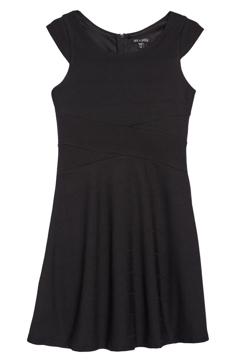 AVA & YELLY Skater Dress, Main, color, BLACK