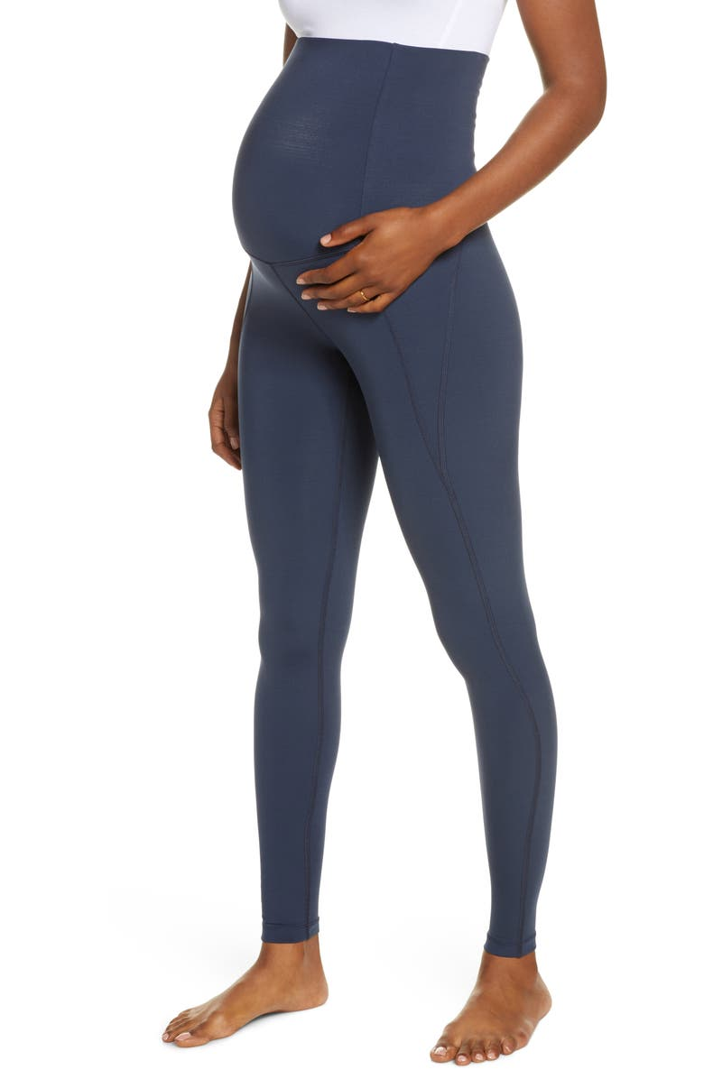 GIRLFRIEND COLLECTIVE High Waist Full Length Maternity Leggings, Main, color, MIDNIGHT