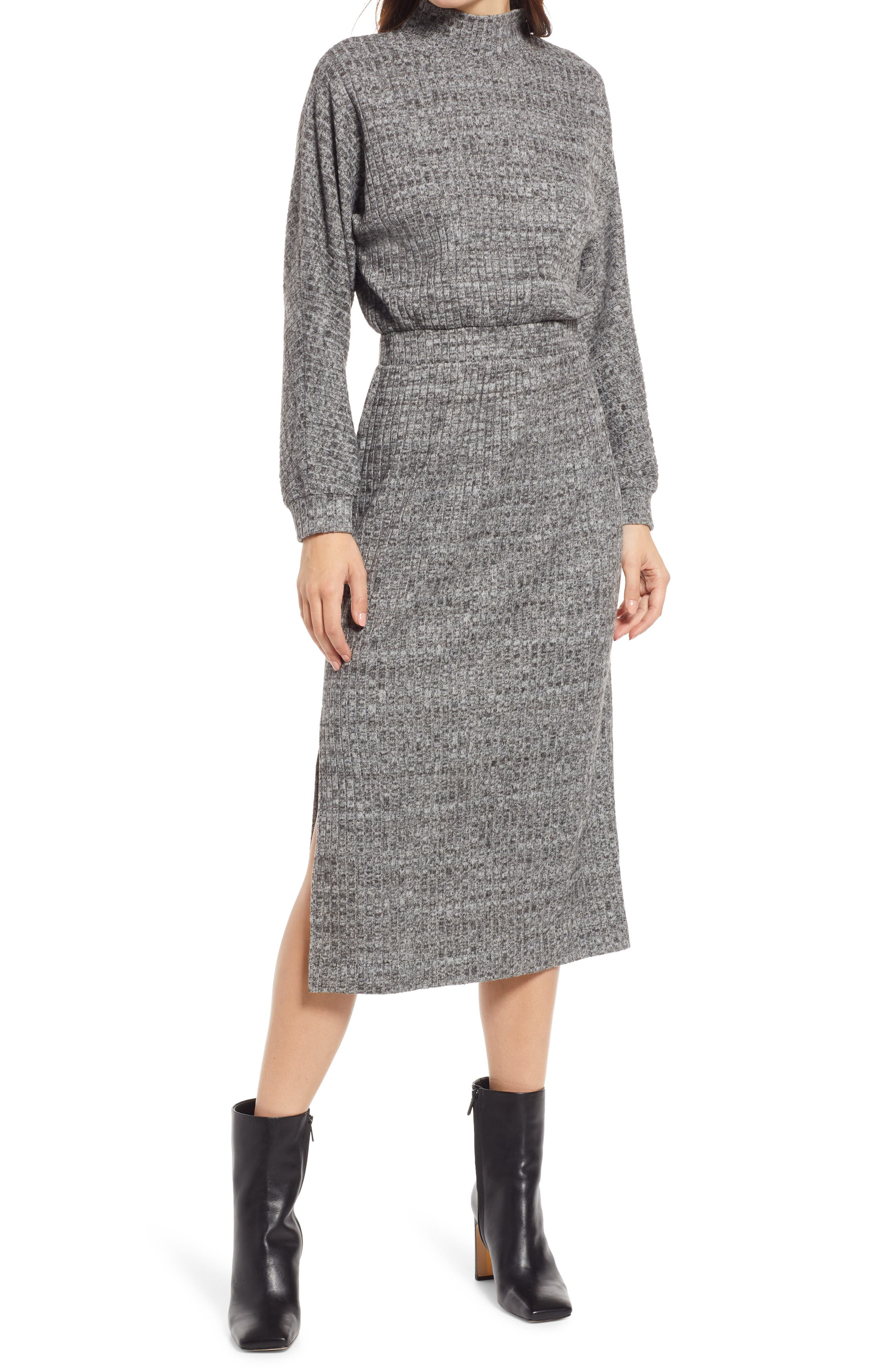 Ribbed Long Sleeve Sweater Dress
