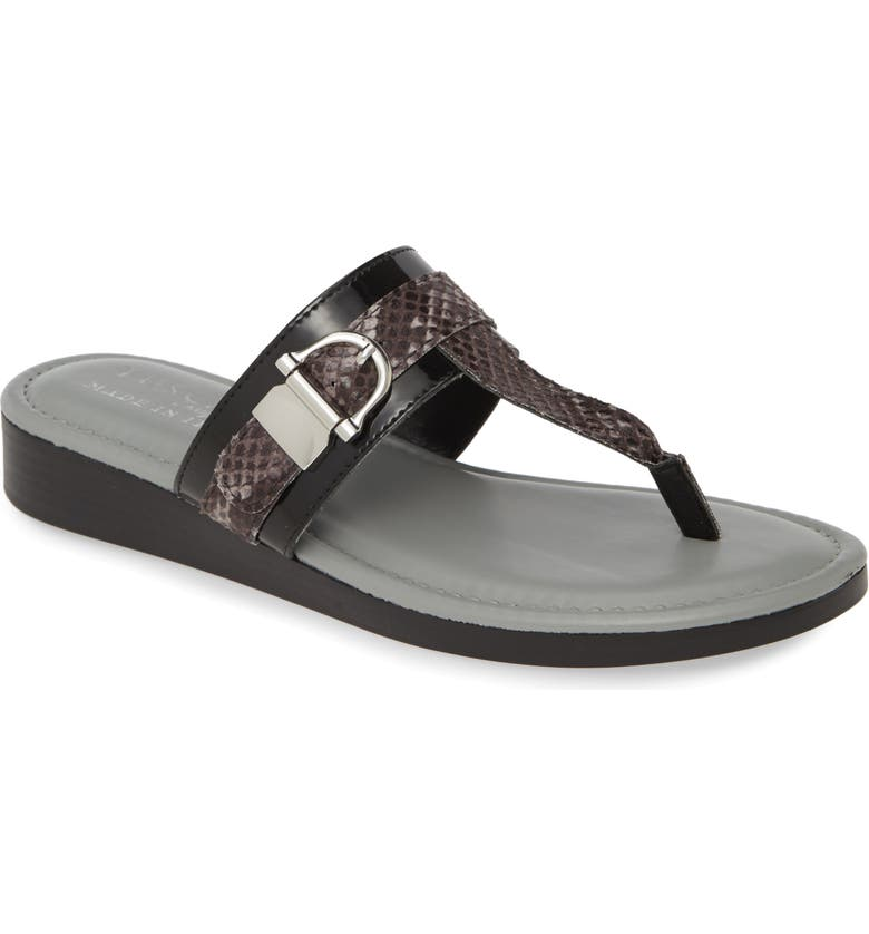 TUSCANY BY EASY STREET<SUP>®</SUP> Cadenza Flip Flop, Main, color, BLACK SNAKE PRINT FAUX LEATHER