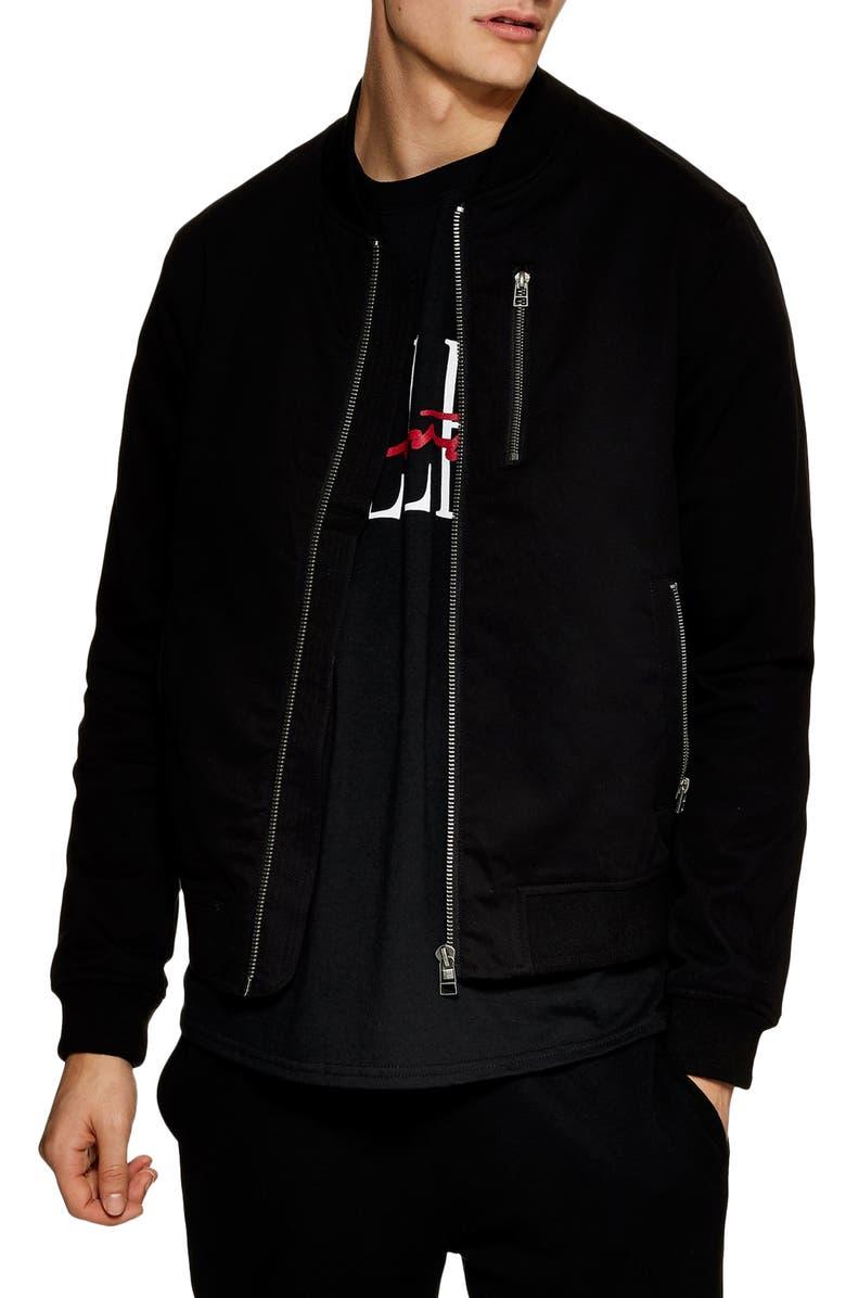 TOPMAN Classic Fit Bomber Jacket, Main, color, 001
