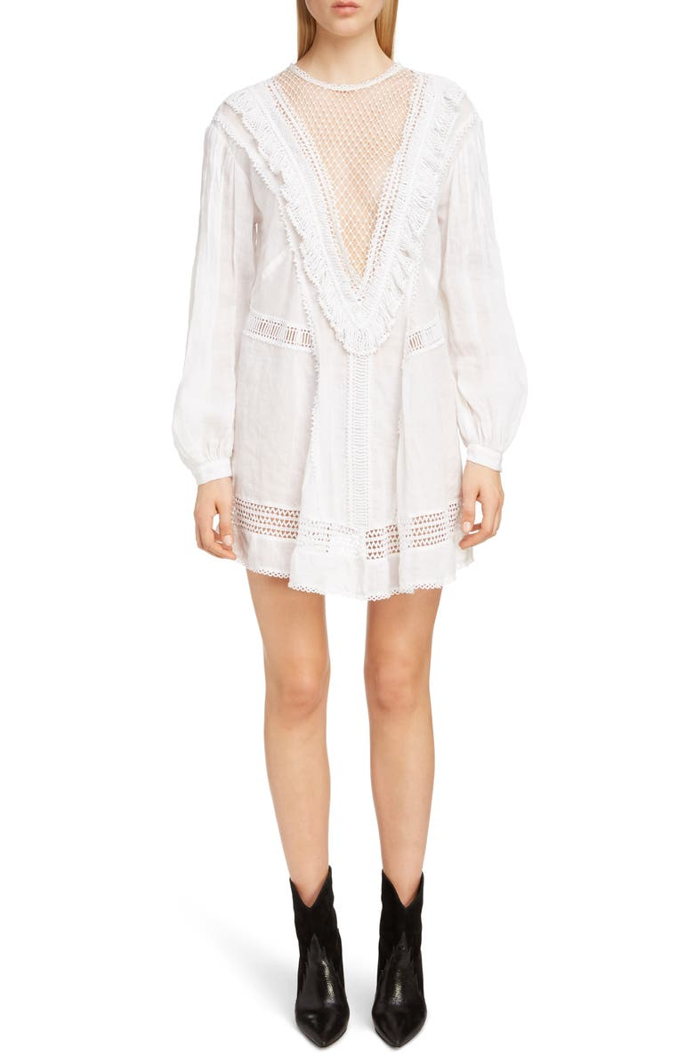 ISABEL MARANT Rowina Crochet Lace Inset Long Sleeve Dress, Main, color, 100