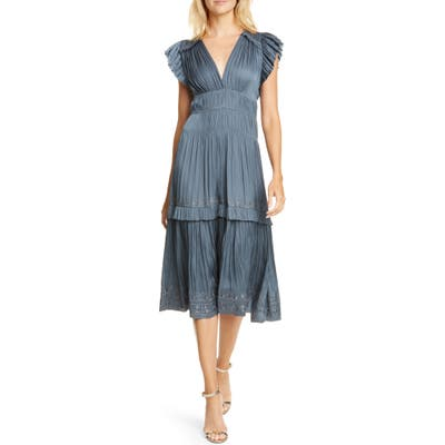 Ulla Johnson Claudia Ruffle Midi Dress, Grey