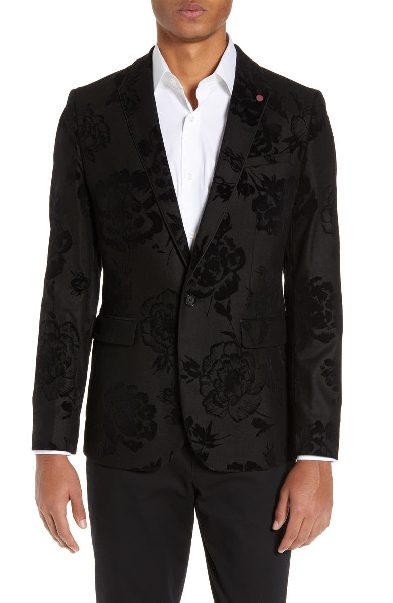TED BAKER LONDON Sherman Trim Fit Flocked Velvet Dinner Jacket, Main, color, 001