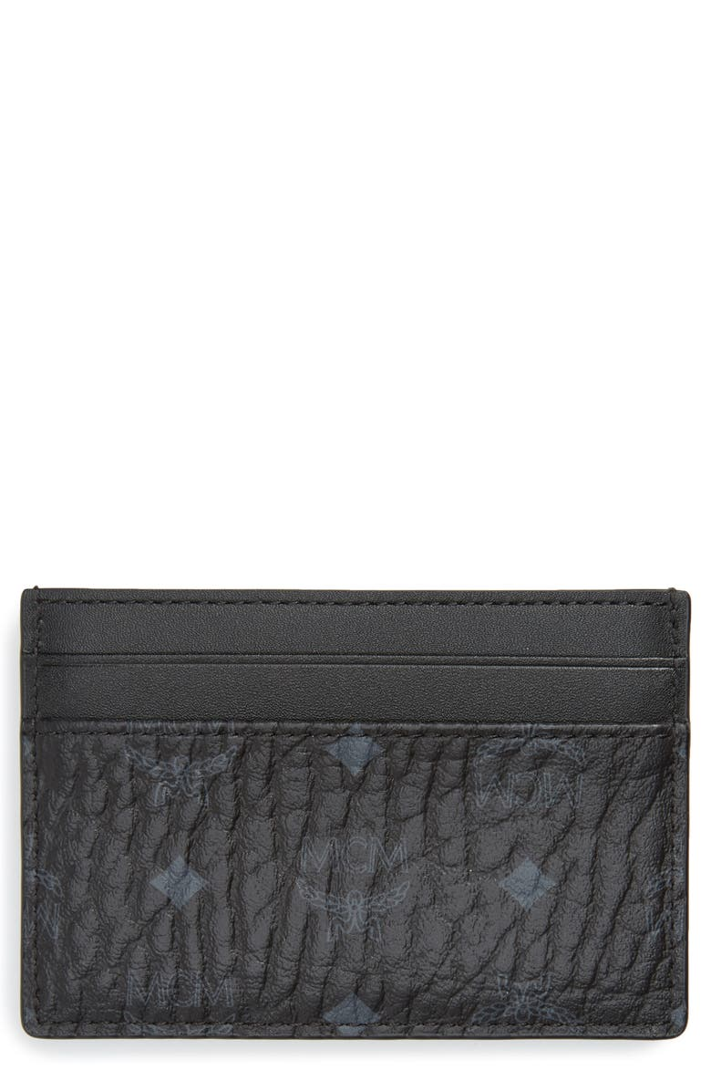 MCM Logo Leather Card Case, Main, color, BLACK