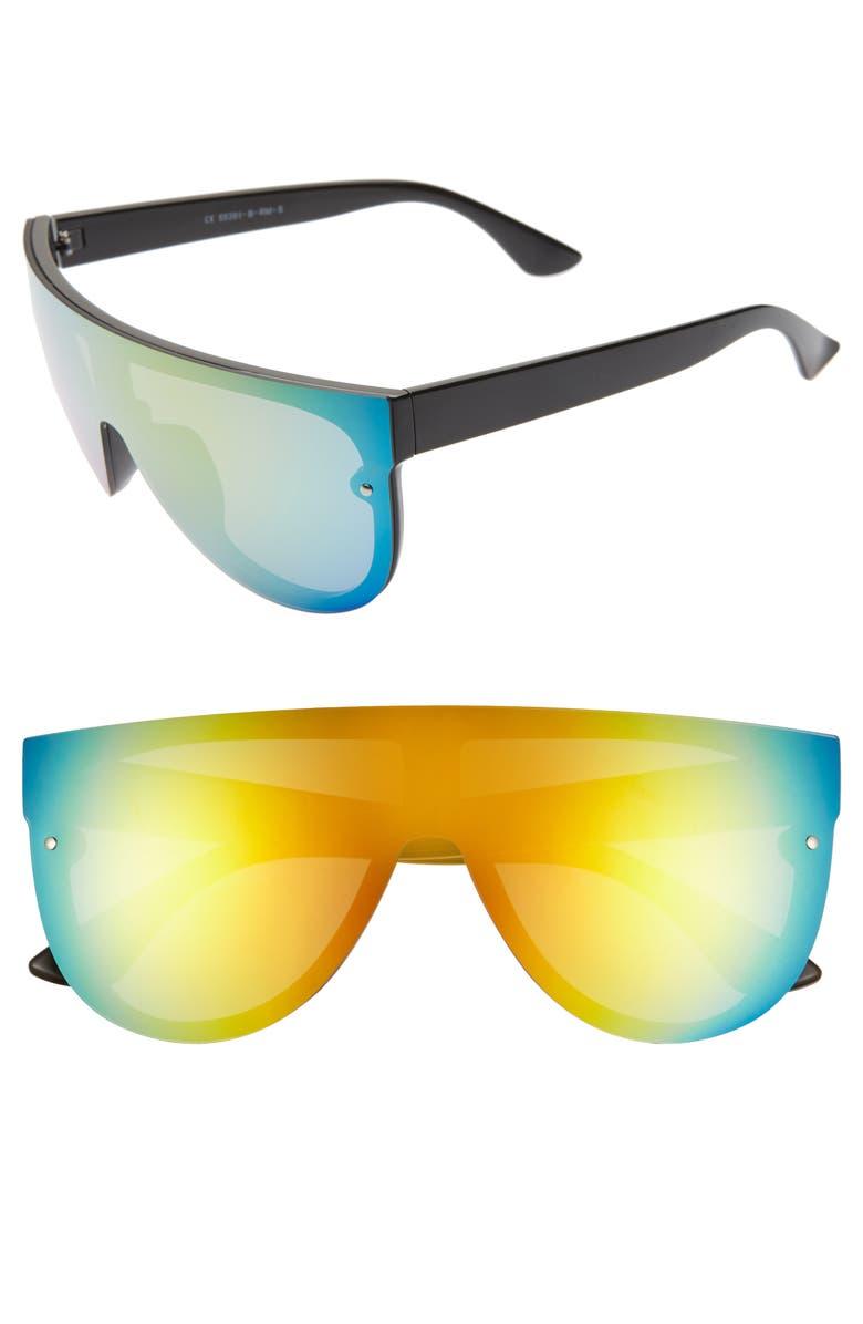 GLANCE EYEWEAR 154mm Tinted Mirrored Shield Sunglasses, Main, color, 001