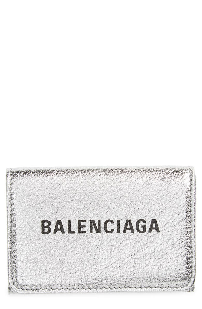 BALENCIAGA Mini Everyday Metallic Leather Wallet, Main, color, 045