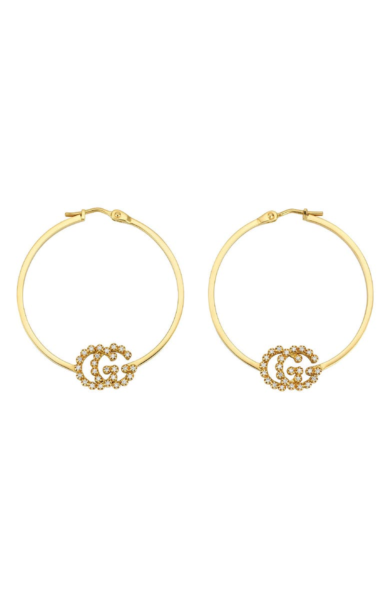 GUCCI Running G Diamond Hoop Earrings, Main, color, YELLOW GOLD