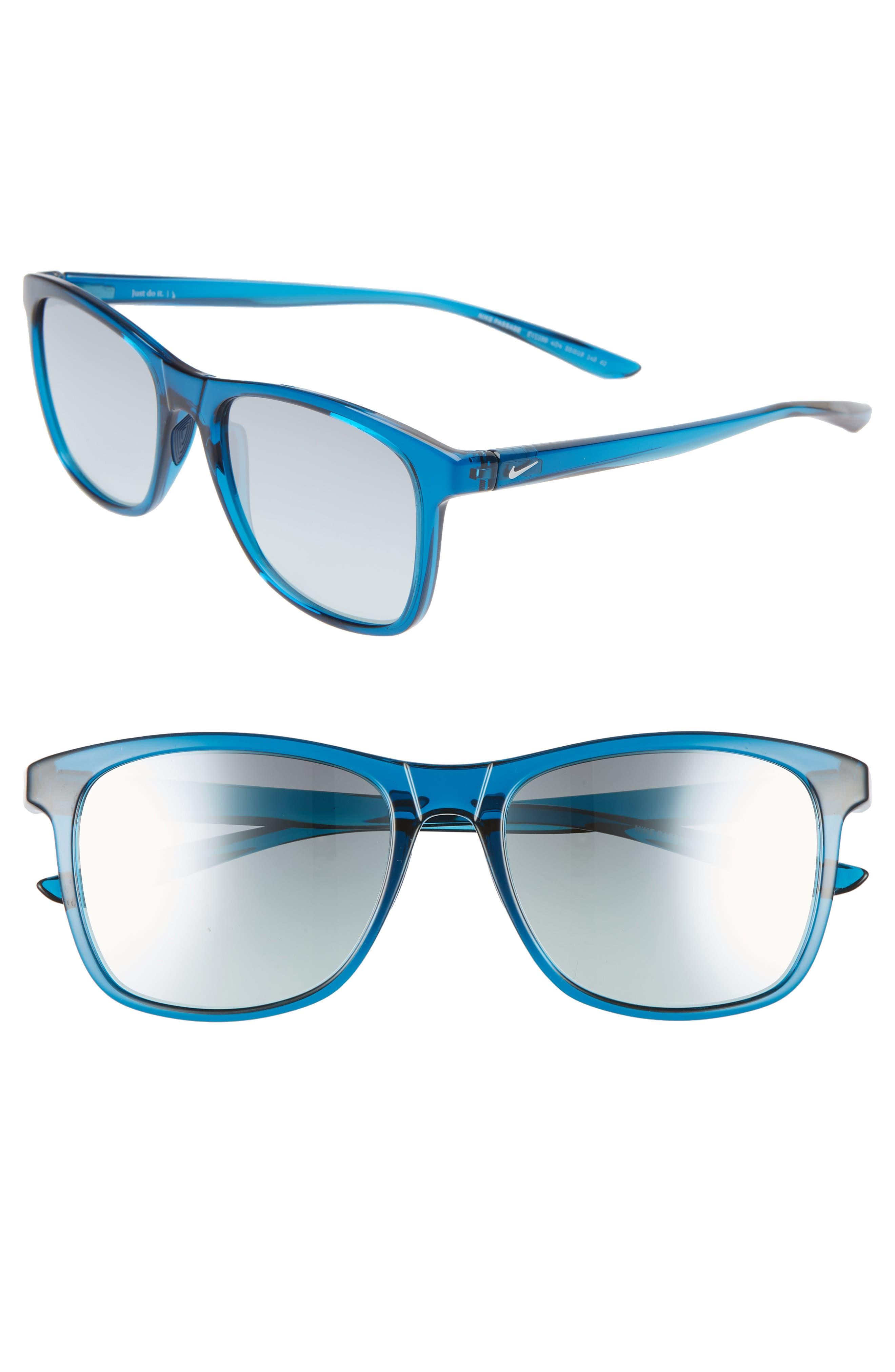 Nike Passage 55Mm Square Sunglasses - Blue Force/ Blue