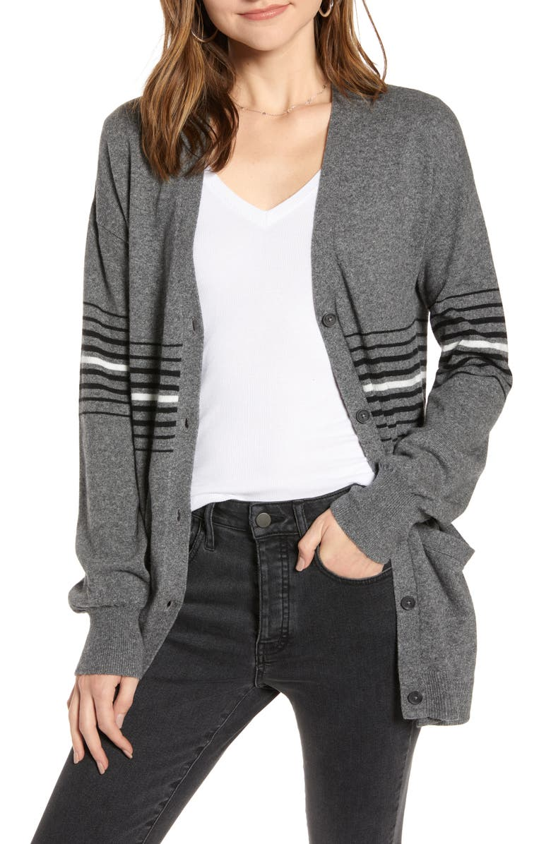TREASURE & BOND Athletic Stripe Cardigan, Main, color, GREY DK HR- BLACK COMBO