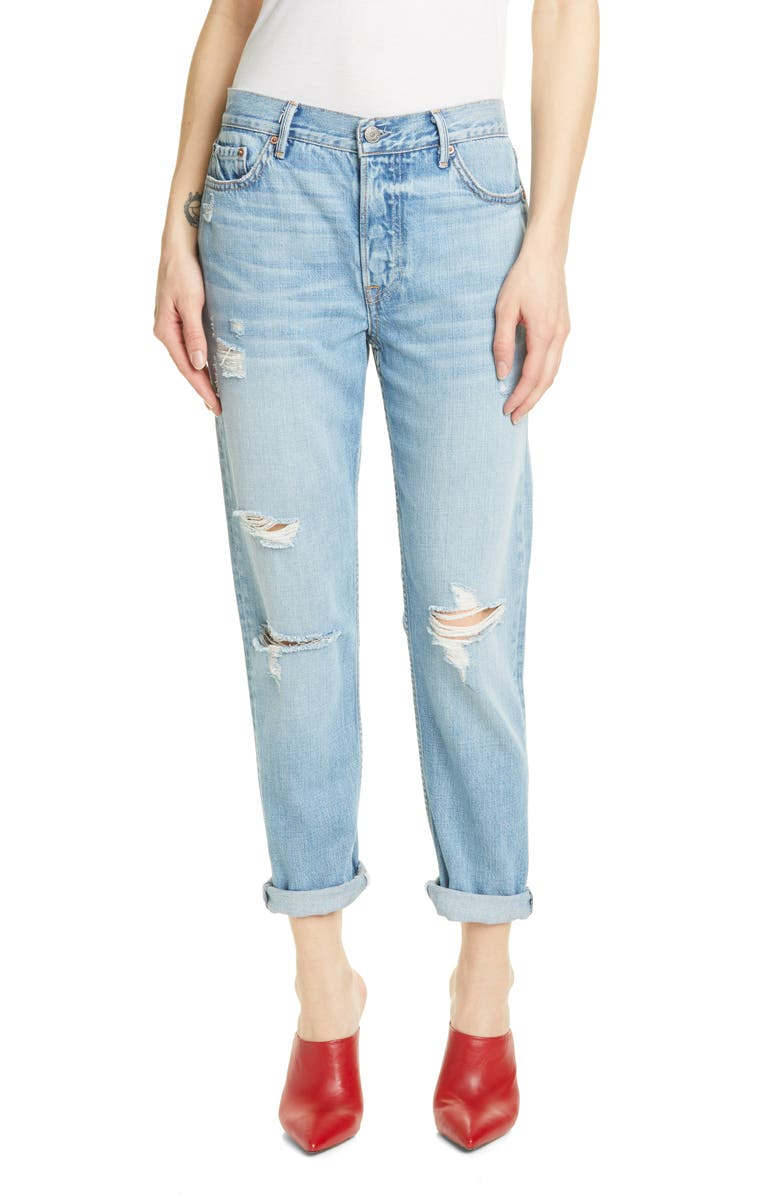 GRLFRND Olivia Ripped Boyfriend Jeans, Main, color, DOUBLE TAKE