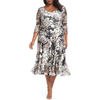 Plus Size Komarov Charmeuse & Lace A-Line Dress, Black