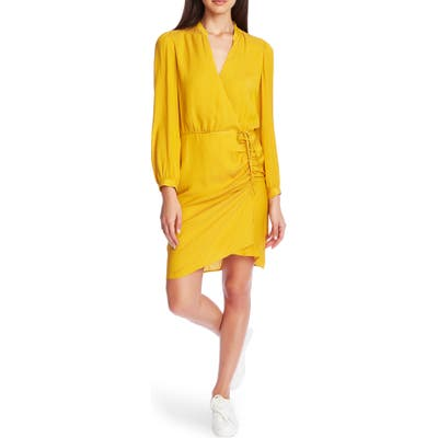 1.state Long Sleeve Shadow Stripe Ruched Dress, Yellow