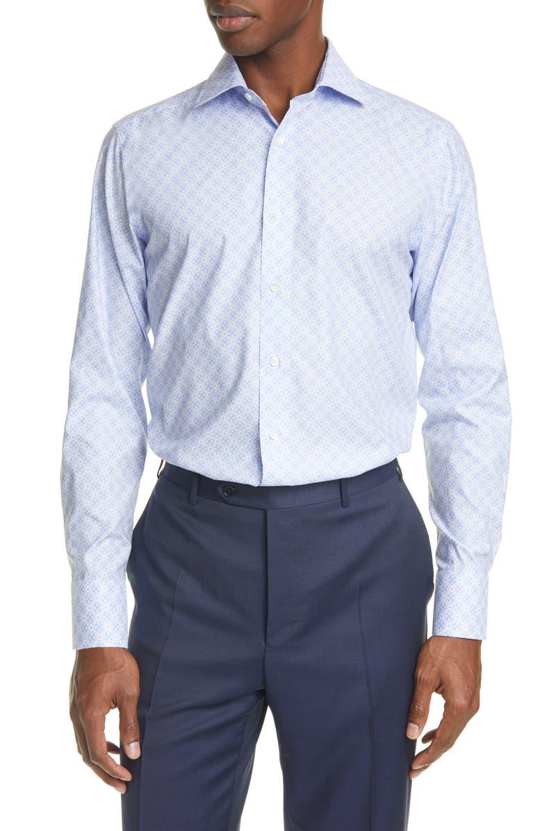 CANALI Trim Fit Floral Dress Shirt, Main, color, LIGHT BLUE