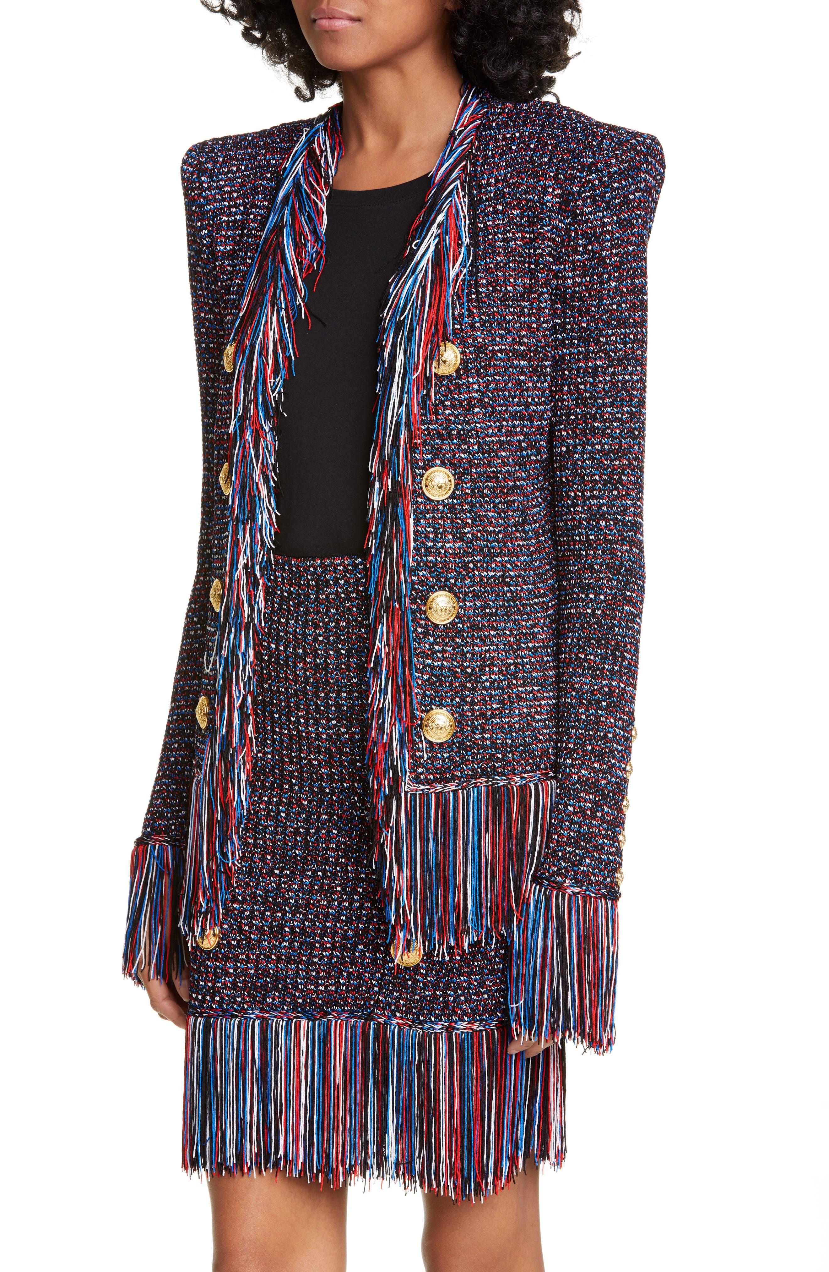 ,                             Fringe Trim Tweed Jacket,                             Alternate thumbnail 4, color,                             EBJ NOIR/ BLEU/ BLANC